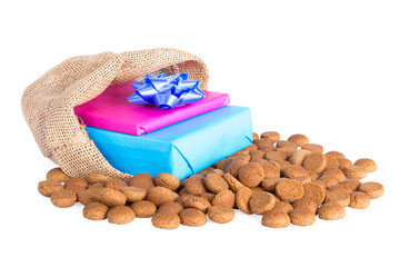 Jute bag with ginger nuts and presents, a Dutch tradition