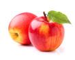 Fresh apples with leaf