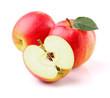 Juicy apples with leaf