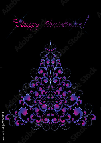 Christmas Tree assembled  of curved purple rounded  form