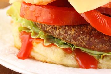 Hamburger with salad