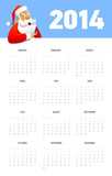 Calendar for 2014 with Santa. Vector