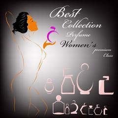Female perfume premium class.Abstract graphic illustration.
