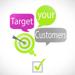 bulles vert fuchsia : target your customers (anglais)