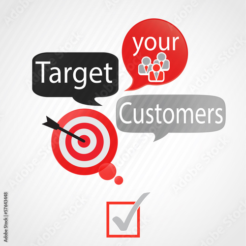 bulles rouge gris : target your customers (anglais)