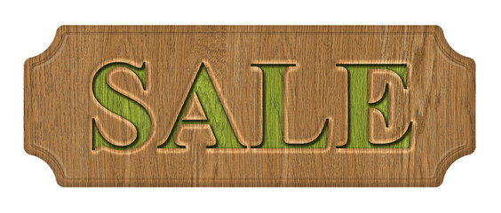 Sale, wooden label, isolated on the white background.