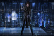 future woman dressed in black latex with a huge gun in a buildin