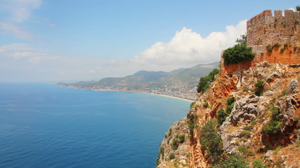 panorama of mediterranean sea - view from fortress Alanya Turkey