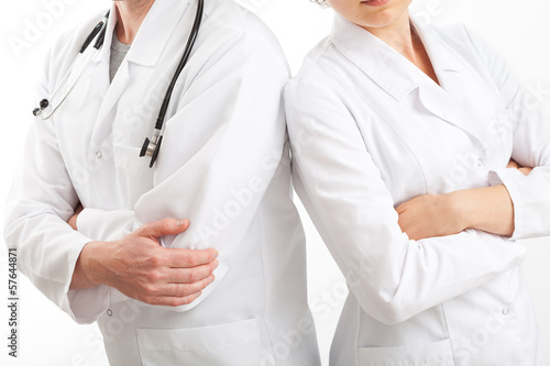 Physicians in uniforms, isolated