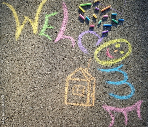 Chalk drawing childrens picture