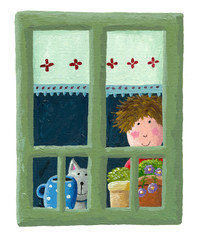 Boy and cat looking through the window