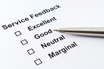 service feedback with pen isolated over white background