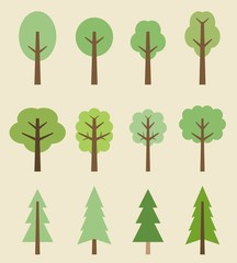 Tree icons - cartoon set