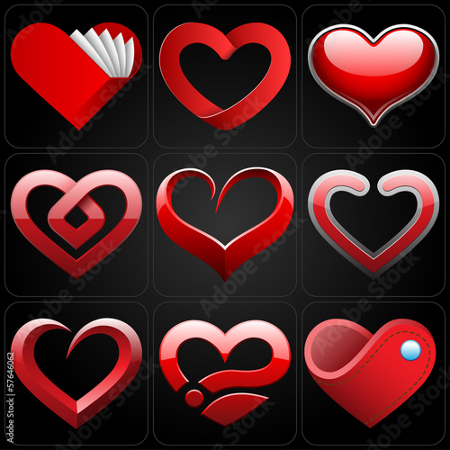 3D heart icons set
