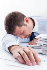Sleeping Businessman. Shallow depth of field.