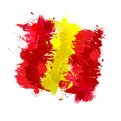 Colored splashes in abstract shape, Spanish flag