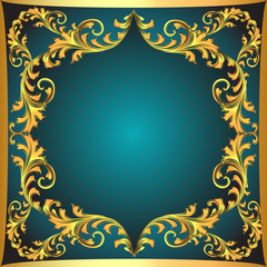 blue  background a frame with a gold ornament