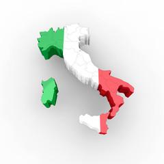 Cartina Italia 3d regioni e bandiera