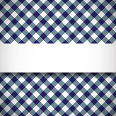 Banner on tilted gingham plaid pattern