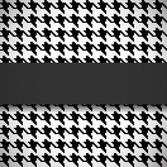 Banner on houndstooth seamless pattern