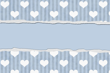 Blue Hearts Torn Background for your message or invitation