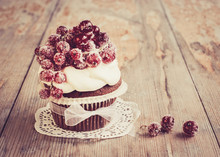 Chocolate cupcake with sugared redcurrant in vintage look