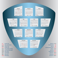 Calendar 2014 - Public Holidays indicated