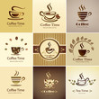 cafe emblem collection, set of coffee cups icons