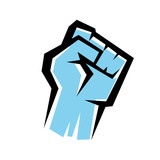Fototapety fist stylized vector icon, revolution concept