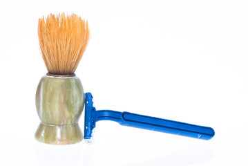 Shaving brush and razor