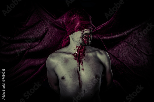 Carnival, Halloween, Blood, Scary, Male vampire with huge red co