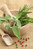 rosemary, sage, salt and pepper