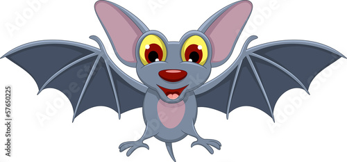 Cute Cartoon Halloween bat flying