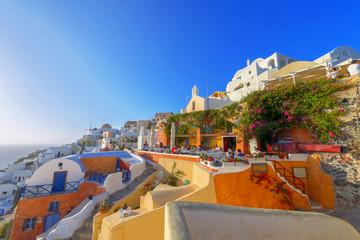 Greece Santorini island panoramic view of colorful whitewased ha