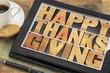 Happy Thanksgiving on digital tablet