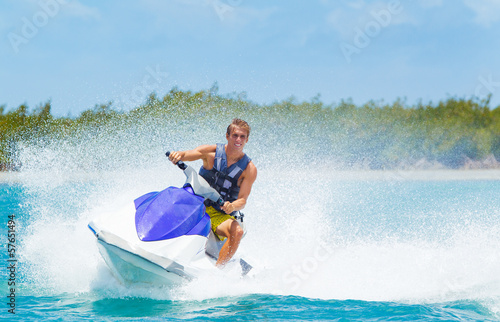 Fotobehang Water Motorsp. Man on Jet Ski