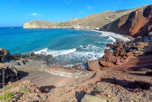 Greece Santorini island wide angle seascape view of colorful sea