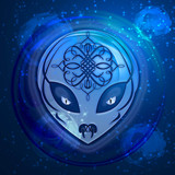 Blue Alien Dream Digital Art Design