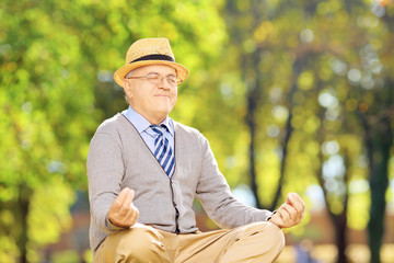Senior gentleman meditating seated on a grass in a park