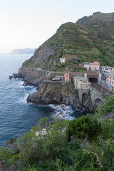 Cinque Terre Cliffs with Train Track