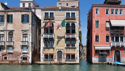 Closeup of Building along Grand Canal Venice