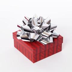 Weihnachtsgeschenk mit Schleife in silber