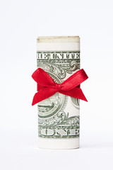 onne dollar bill wrapped with a red bow