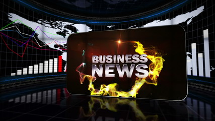 Business News in Falling Cubes, with Green Screen