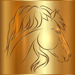 Vector Sketch Horse on Golden Background, Symbol of New Year