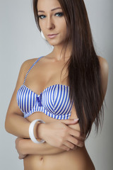 beauty girl in blue white stripe bra