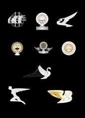 hood ornaments from 20s,30s,40s, over black