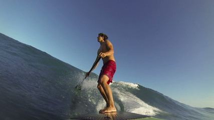 POV Stand Up Paddle Surfing Blue Wave