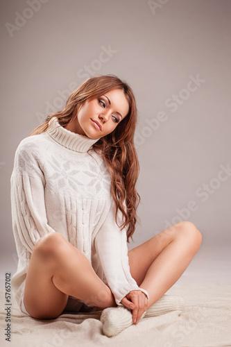 beautiful sexy woman weraing sweater
