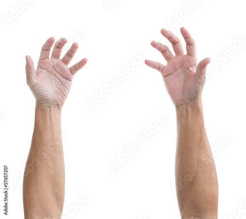 Man hand with bent isolated on white background, clipping path